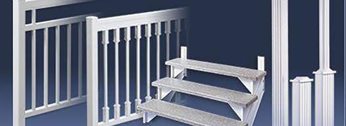 colonne aluminium et escalier fibre de verre